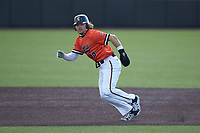 Spencer Packard (25) of the Campbell Camels takes off for second base during the game against the Dayton Flyers at Jim Perry Stadium on February 28, 2021 in Buies Creek, North Carolina. The Camels defeated the Flyers 11-2. (Brian Westerholt/Four Seam Images)