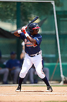 GCL Braves shortstop Nicholas Shumpert (92) at bat during a game against the GCL Blue Jays on August 5, 2016 at ESPN Wide World of Sports in Orlando, Florida.  GCL Braves defeated the GCL Blue Jays 9-0.  (Mike Janes/Four Seam Images)