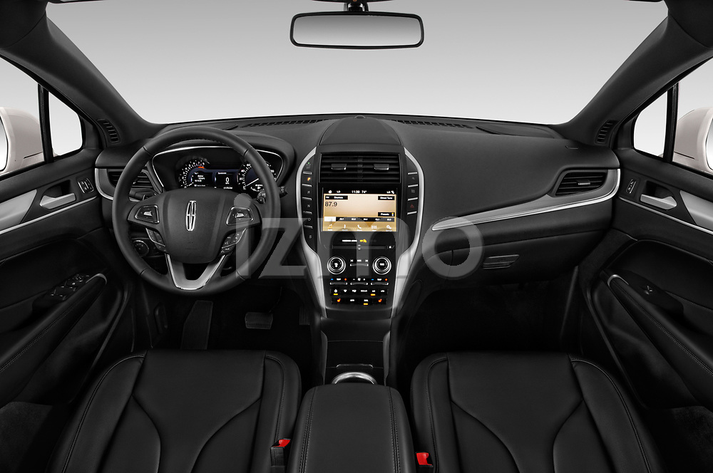 Stock photo of straight dashboard view of a 2019 Lincoln MKC Base 5 Door SUV