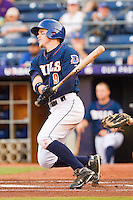 Brandon Guyer #9 of the Durham Bulls follows through on his swing against the Charlotte Knights at Durham Bulls Athletic Park on August 28, 2011 in Durham, North Carolina.   (Brian Westerholt / Four Seam Images)
