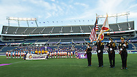 Orlando, FL - Saturday July 16, 2016: Pre-game ceremony with Orlando Color Guard prior to a regular season National Women's Soccer League (NWSL) match between the Orlando Pride and the Chicago Red Stars at Camping World Stadium.