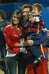 FC Barcelona's Leo Messi celebrates with his family, wife Antonella Roccuzzo (l) and son Thiago Messi (r) the victory in the Spanish Kings Cup Final match. May 22,2016. (ALTERPHOTOS/Acero)