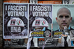 """Fascists vote Forza Nuova - Italy for Italians"" Fascist manifests in the Roman San Giovanni neighbourhood."