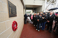 Pictured: Swansea supporters by the unveiled plaque Sunday 09 November 2014<br />