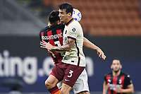 Zlatan Ibrahimovic of AC Milan and Roger Ibanez of AS Roma compete for the ball during the Serie A football match between AC Milan and AS Roma at San Siro Stadium in Milano  (Italy), October 26th, 2020. Photo Image Sport / Insidefoto