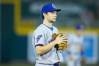 South Bend Cubs third baseman Austin Filiere (21) on defense against the Lansing Lugnuts at Cooley Law School Stadium on June 15, 2018 in Lansing, Michigan. The Lugnuts defeated the Cubs 6-4.  (Brian Westerholt/Four Seam Images)