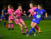 Fran Meersman (5 Gent) pictured passing the ball in front of Ylenia Carabott (7 Charleroi) and Ludmila Matavkova (9 Charleroi) during a female soccer game between  AA Gent Ladies and Sporting Charleroi Feminin on the fifth matchday of the 2020 - 2021 season of Belgian Scooore Womens Super League , friday 16 th of October 2020  in Oostakker , Belgium . PHOTO SPORTPIX.BE | SPP | DAVID CATRY