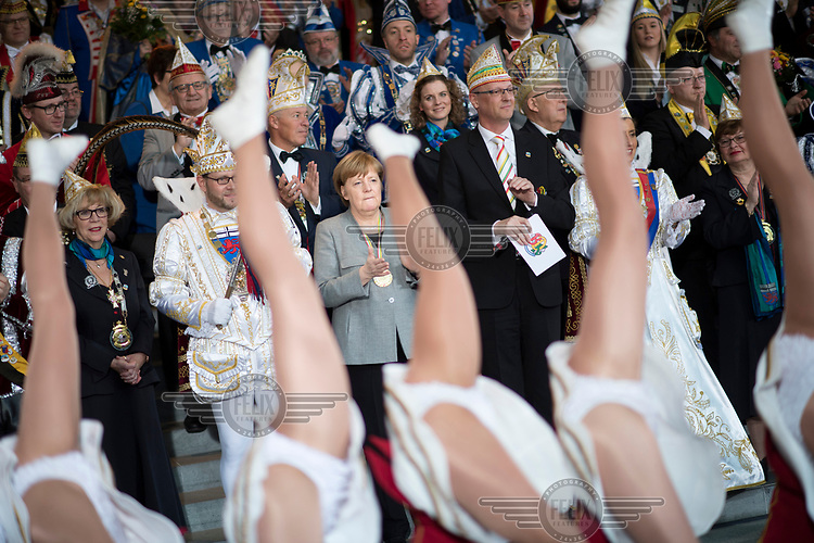Angela Merkel with carnevalists during a reception for the different carnival guilds at the Chancellery.