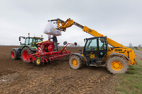 1-3-2021 Filling a seed drill with Spring Barley seed<br />  ©Tim Scrivener Photographer 07850 303986<br />      ....Covering Agriculture In The UK....