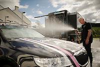 teamcar showertime<br /> <br /> Team Rapha Condor JLT<br /> Tour of Britain prep