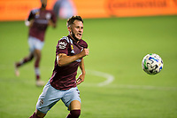 CARSON, CA - SEPTEMBER 19: Keegan Rosenberry #2 of the Colorado Rapids moves to the ball during a game between Colorado Rapids and Los Angeles Galaxy at Dignity Heath Sports Park on September 19, 2020 in Carson, California.