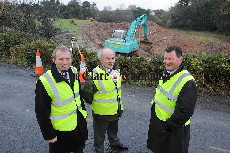 Timmy Dooley. TD, Councillor Colm Wiley and Councillor Pat Hayes, in Feakle to watch the start of work in the Scariff Tuamgraney, Feakle, Quilty, Mullagh sewerage schemes. Photograph by John Kelly.