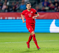 CARSON, CA - FEBRUARY 07: Christine Sinclair #12 of Canada sprints during a game between Canada and Costa Rica at Dignity Health Sports Park on February 07, 2020 in Carson, California.