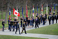 With full Ceremonial Honors presented, The Right Honorable Justin Trudeau, Prime Minister of Canada, arrives at Arlington National Cemetery, Arlington, Virginia to lay a wreath at the Tomb of the Unknowns in honor of the Prime Minister's official visit to the United States.  The Official Host for the ceremony, Army Major General Bradley A. Belker, Commanding General, Military District of Washington accompanies the Prime Minister for the ceremony. (Department of Defense photo by Marvin Lynchard)