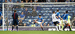 Ian Black clears off the line to protect Rangers' lead in the dying seconds of the match