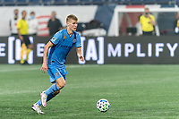 FOXBOROUGH, MA - SEPTEMBER 02: Keaton Parks #55 of New York City FC brings the ball forward during a game between New York City FC and New England Revolution at Gillette Stadium on September 02, 2020 in Foxborough, Massachusetts.