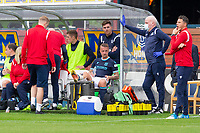 25th September 2021; Dens Park, Dundee, Scotland: Scottish Premiership football, Dundee versus Rangers; Leigh Griffiths of Dundee on the bench after leaving the pitch with an injury