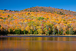Peak foliage on Stoughton Pond in Perkinsville, VT, USA