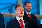 Wales's national rugby team who won both the Six Nations and the Grand Slam are welcomed to the National Assembly for Wales Senedd building in Cardiff Bay today for a public celebration event. Gareth Anscombe.