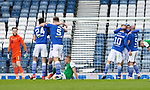 St Johnstone v Hibs…22.05.21  Scottish Cup Final Hampden Park<br />Jamie McCart hugs Chris Kane and Dvaid Wotherspoon as the final whistle goes<br />Picture by Graeme Hart.<br />Copyright Perthshire Picture Agency<br />Tel: 01738 623350  Mobile: 07990 594431