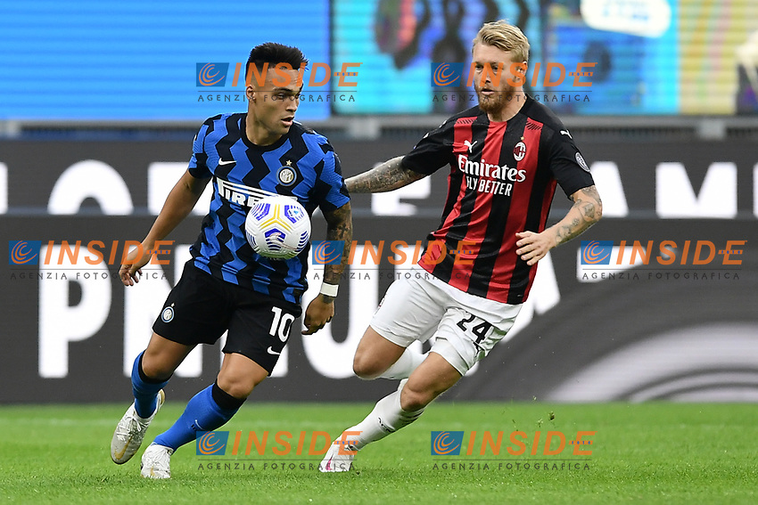 Lautaro Martinez of FC Internazionale and Simon Kjaer of AC Milan compete for the ball during the Serie A football match between FC Internazionale and AC Milan at stadio San Siro in Milano (Italy), October 17th, 2020. Photo Image Sport / Insidefoto