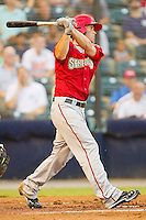 Bryce Harper #34 of the Harrisburg Senators follows through on his swing against the Richmond Flying Squirrels in game two of a double-header at The Diamond on July 22, 2011 in Richmond, Virginia.  The Senators defeated the Flying Squirrels 1-0.   (Brian Westerholt / Four Seam Images)