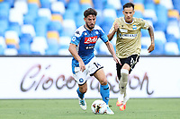 Dries Mertens of Napoli and Alessandro Murgia of SPAL<br /> during the Serie A football match between SSC  Napoli and SPAL at stadio San Paolo in Naples ( Italy ), June 28th, 2020. Play resumes behind closed doors following the outbreak of the coronavirus disease. <br /> Photo Cesare Purini / Insidefoto