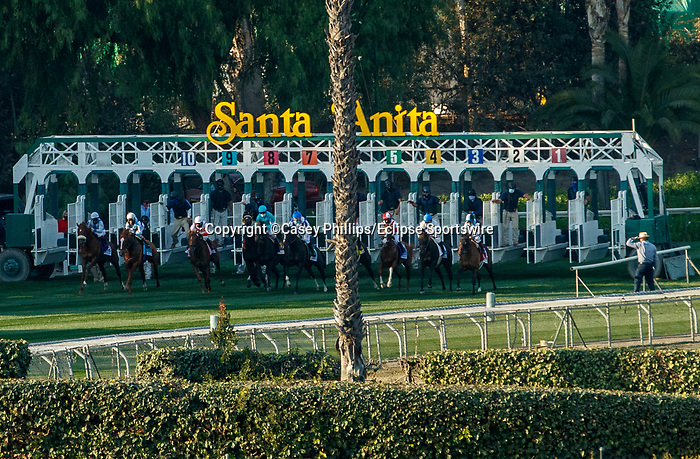 ARCADIA, CA DECEMBER 26: Start of the American Oaks (Grade 1) on December 26, 2020 at Santa Anita Park in Arcadia, CA.<br /> (Photo by Casey Phillips/Eclipse Sportswire/CSM.)