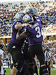 TCU Horned Frogs wide receiver Brandon Carter (3) amd TCU Horned Frogs guard Blaize Foltz (66) in action during the game between the Grambling State Tigers and the TCU Horned Frogs  at the Amon G. Carter Stadium in Fort Worth, Texas. TCU defeats Grambling State 59 to 0.