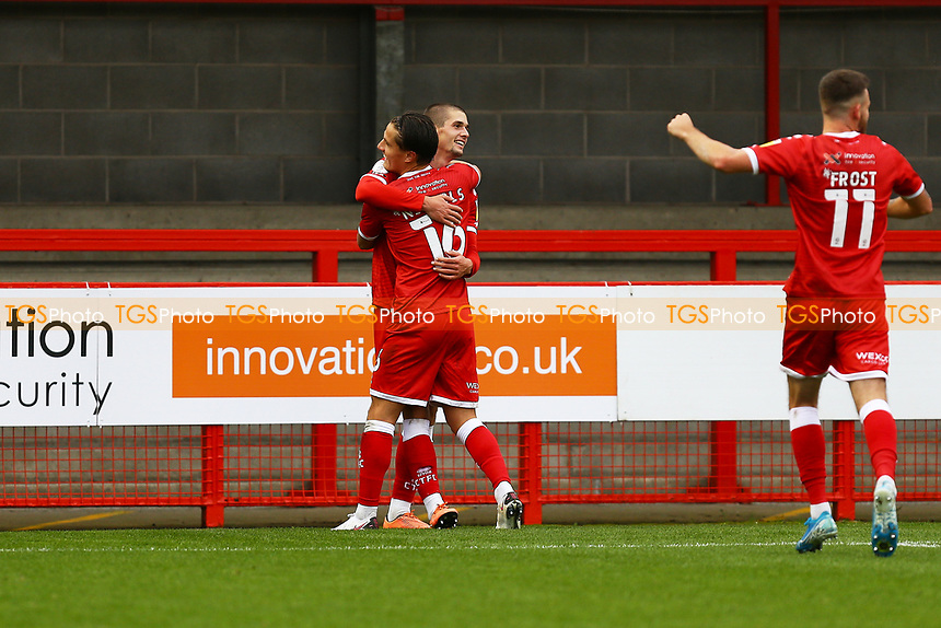 Max Watters of Crawley Town scores the third goal for his team and celebrates with Tom Nichols of Crawley Town during Crawley Town vs Morecambe, Sky Bet EFL League 2 Football at Broadfield Stadium on 17th October 2020