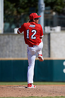Pitcher Gage Jump (12) during the Baseball Factory All-Star Classic at Dr. Pepper Ballpark on October 4, 2020 in Frisco, Texas.  Pitcher Gage Jump (12), a resident of Aliso Viejo, California, attends JSerra Catholic High School.  (Mike Augustin/Four Seam Images)