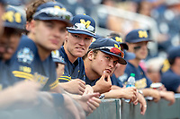 Michigan Wolverines pitcher Walker Cleveland (35) before Game 6 of the NCAA College World Series against the Florida State Seminoles on June 17, 2019 at TD Ameritrade Park in Omaha, Nebraska. Michigan defeated Florida State 2-0. (Andrew Woolley/Four Seam Images)