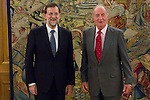 22.08.2012. King Juan Carlos of Spain receives the President of the Government of Spain Mariano Rajoy Brey in the Zarzuela Palace in Madrid. In the image (L-R) Mariano Rajoy Brey and King Juan Carlos (Alterphotos/Marta Gonzalez)