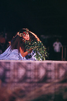 Kahiko (ancient) hula at the Merrie Monarch Festival, Hilo, Big Island of Hawaii