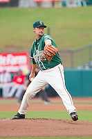 Greensboro Grasshoppers starting pitcher Max Garner (21) in action against the Hagerstown Suns at NewBridge Bank Park on May 20, 2014 in Greensboro, North Carolina.  The Grasshoppers defeated the Suns 5-4. (Brian Westerholt/Four Seam Images)