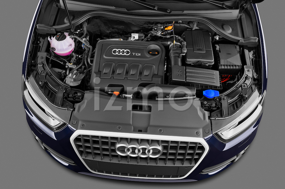 High angle engine detail of a 2012 Audi Q3 SUV  .