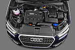 High angle engine detail of a 2012 Audi Q3 SUV  .