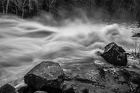 Buttermilk Falls in flood on the Raquette River in the Adirondack Mountains in New York state