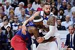 Real Madrid's Jeffery Taylor and FC Barcelona Lassa's Tyrese Rice during Liga Endesa match between Real Madrid and FC Barcelona Lassa at Wizink Center in Madrid, Spain. March 12, 2017. (ALTERPHOTOS/BorjaB.Hojas)