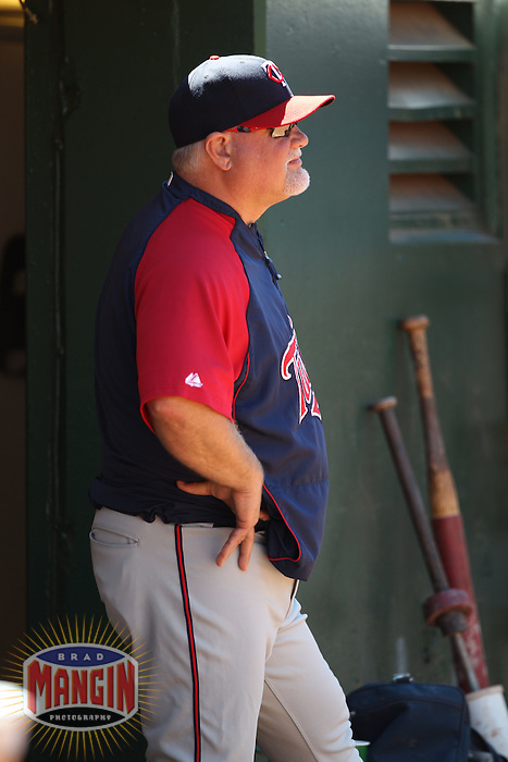 OAKLAND, CA - JUNE 6:  Manager Ron Gardenhire #35 of the Minnesota Twins watches from the dugout during the game against the Oakland Athletics at the Oakland-Alameda County Coliseum on June 6, 2010 in Oakland, California. Photo by Brad Mangin
