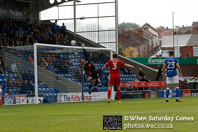 Chesterfield 1 Accrington Stanley 2, 16/09/2017. Proact Stadium, League Two. Joe Anyon of Chesterfield tips a shot over the bar,  Photo by Paul Thompson.