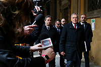 Pietro Grasso<br /> Rome February 19th 2019. Senate immunity commission at Sant'Ivo alla Sapienza palace.  The commission voted to retain immunity from prosecution for the Minister of Internal Affairs Matteo Salvini. Last August 20th a ship, carrying 177 migrants (among them many minors) docked in the harbour of Catania but Minister Salvini took the decision to block migrants of Diciotti ship at sea. For that reason the magistracy accused the minister of kidnapping.<br /> Foto Samantha Zucchi Insidefoto
