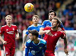 St Johnstone v Aberdeen…15.09.18…   McDiarmid Park     SPFL<br />Joe Shaughnessy wins this battle with Stevie May<br />Picture by Graeme Hart. <br />Copyright Perthshire Picture Agency<br />Tel: 01738 623350  Mobile: 07990 594431