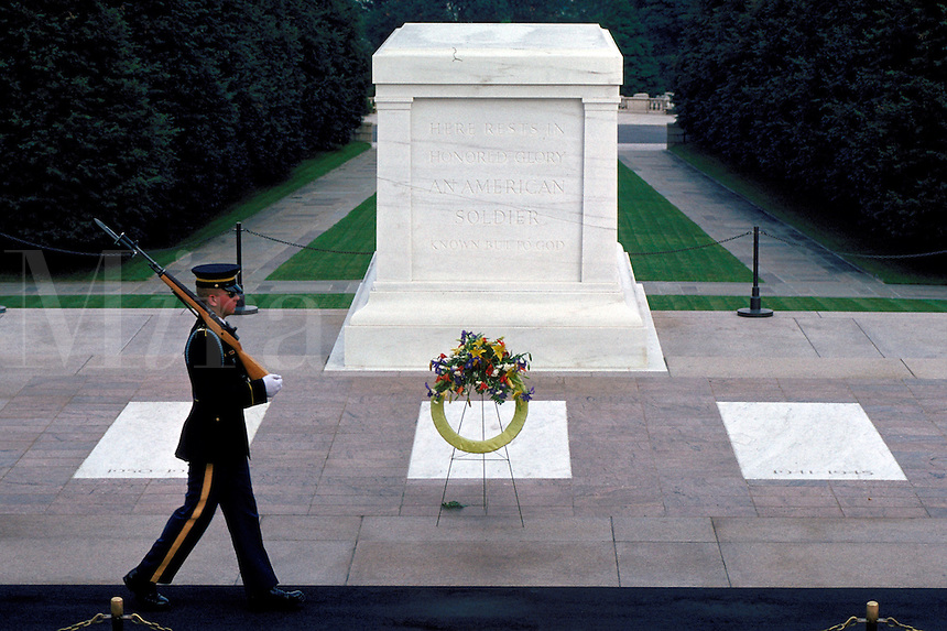 An Army honor guard at the Tomb of the Unknowns at Arlington National Cemetery. Arlington Virginia USA Washington DC Metro Area.
