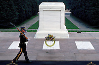 An Army honor guard at the Tomb of the Unknowns at Arlington National Cemetery. Arlington Virginia USA Washington DC Metro Area.