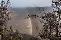 A rainbow over Kilauea Iki Crater along the Kilauea Iki trail in Hawaii Volcanoes National Park, Big Island.