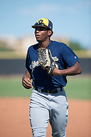 Milwaukee Brewers center fielder Joe Gray (9) jogs off the field between innings of an Instructional League game against the San Diego Padres at Peoria Sports Complex on September 21, 2018 in Peoria, Arizona. (Zachary Lucy/Four Seam Images)