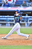 Asheville Tourists Korey Lee (5) swings at a pitch during a game against the Brooklyn Cyclones on May 8, 2021 at McCormick Field in Asheville, NC. (Tony Farlow/Four Seam Images)
