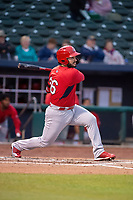 Springfield Cardinals infielder Chris Chinea (26) connects on a pitch on May 18, 2019, at Arvest Ballpark in Springdale, Arkansas. (Jason Ivester/Four Seam Images)