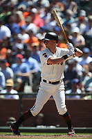 SAN FRANCISCO, CA - JULY 24:  Joe Panik #12 of the San Francisco Giants bats against the Chicago Cubs during the game at Oracle Park on Wednesday, July 24, 2019 in San Francisco, California. (Photo by Brad Mangin)